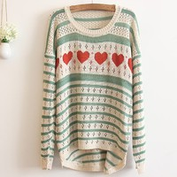 Green Love Stripes Hollow Thin Pullover Sweater