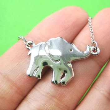 Baby Elephant Charm Animal Jewelry Necklace in Shiny Silver from DOTOLY