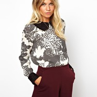 ASOS Blouse With Frill Trim Collar In Floral Spot Print at asos.com