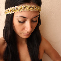 Headband  Golden sequin and beaded by ThreeHeartZ on Etsy
