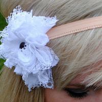 Vintage Lace Hair Flower  Headband or by twoshadesoflovely on Etsy