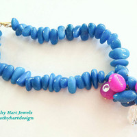 Blue and Pink Natural Stone Necklace with by KathyHartJewels