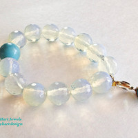 Pretty MoonStone Beaded Elastic Bracelet with by KathyHartJewels