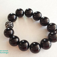 Black Onyx Beaded Elastic Bracelet with Crystal by KathyHartJewels