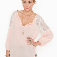 Jardin Lace Blouse - Blush in  Clothes Tops at Nasty Gal