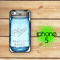 iPhone 5  iPhone 5S Case Blue Mason Jar Phone Case / Hard Case for iPhone 5 Plastic or Rubber Trim