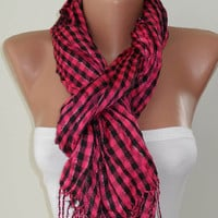 Pink and Black Plaid Shawl / Scarf Silvery by SwedishShop