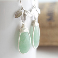 Green Aventurine Earrings Green and Silver Earrings by Jewels2Luv