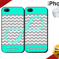 Best Friends iPhone Case - iPhone 5C Case or iPhone 5 Case - Infinity - Chevron iPhone 4 Case - Two Case Set