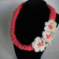 Coral Knit Necklace by IllusionsbyDonna on Zibbet