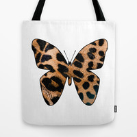 LEOPARD BUTTERFLY Tote Bag by catspaws