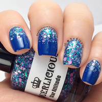 Star Attitude - Purple Teal Star Glitter Bomb Custom Handmade Indie Nail Polish