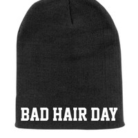 Bad Hair Day Beanie Slouchy Knit Hat -  Black