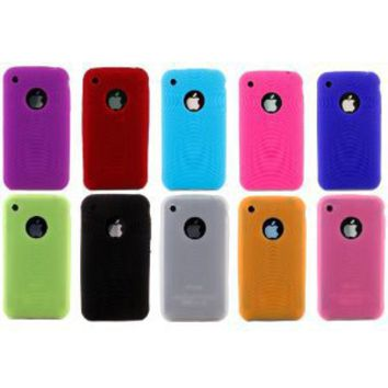 Textured Silicone Skin Case Cover 10 Pack Combo - Compatible With Apple iPhone 3 3G 3GS - Purple, Red, Light Blue, Hot Pink, Dark Blue, Green, Black, Frost White, Orange, Light Pink