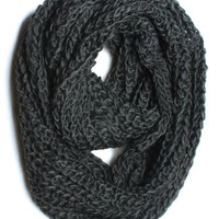 Dry77 Thick Knitted Solid Infinity Loop Scarf, Dark Grey