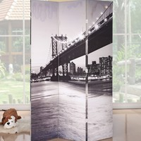 A.M.B. Furniture & Design :: Room Divider Screens :: Trudy II 3 panel canvas Bridge style theme design room divider shoji screen
