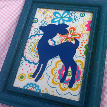 Deer - Fawn Painting on Flower Power Fabric - Framed
