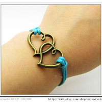 Blue Ropes Steampunk Bracelet Heart to Heart by sevenvsxiao