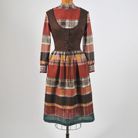 Vintage Mod 1960s Dirndl Dress Earthtone Plaid Striped Dress