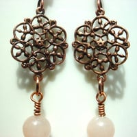 Earrings antiqued copper filigree design by DonnasEarthlyDelites