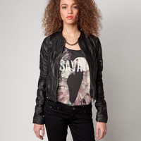 Bershka United Kingdom - Bershka tricot detail leather jacket