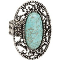 Amazon.com: Exquisite Large Oval Faux Turquoise Filigree Silver Tone Ring fits sizes 7 - 12: Jewelry