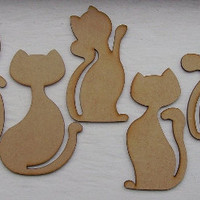 Wooden Cat, Lasercut, Supply, DIY, Decoration