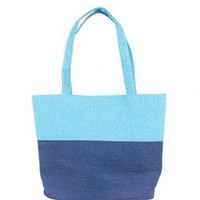Woven Straw Beach Tote Bags-Navy & Light Blue