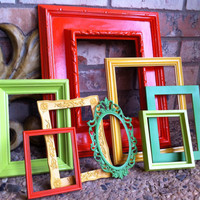 Eclectic Home Decor Vintage Frames Painted Frames by FeFiFoFun