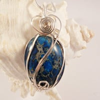 Wire Wrapped Sea Sediment Jasper, Dark Blue, Heart Shape Wire Work, Handmade Wire Jewelry