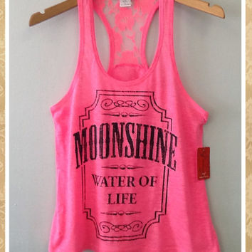 Racer tank w/ laced back- MOONSHINE