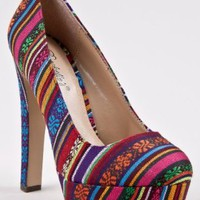 Breckelle's MARY-05 Tribal Print Platform High Heel Pump