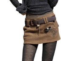 Allegra K Woman Belt Loop Slant Pocket Rhinestud Detail Skort Camel M