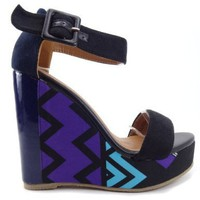 Tribal Print Open Toe Anklet Wedge Sandal