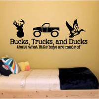 "LARGE 18"" x 42"" Bucks, Trucks and Ducks..that's what little boys are made of - Vinyl Wall Art Decal for little boy's rooms or baby nurseries"
