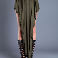 OLIVE WATERFALL JERSEY MAXI SKIRT