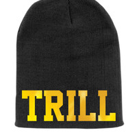 Trill Beanie Slouchy Knit Hat -  Black with Gold Foil