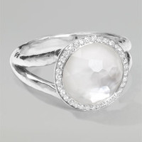 Stella Mini Lollipop Ring in Mother-of-Pear Doublet with Diamonds, 0.15