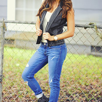 Rock Goddess Vest: Black Leather | Hope's