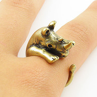 Animal Wrap Ring - Gold Rhino