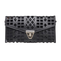 Satin & Leather Cutout Clutch