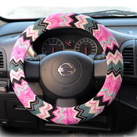 Steering wheel cover for wheel car accessories Zigzag Chevron print