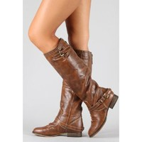 New Ladies Tan Brown Knee High Riding Designer Cowboy Boot Inspired Boots feat Full Back Zip Sz 5.5