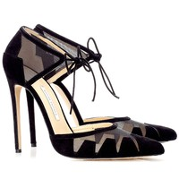 120mm Black Ankle-Tie Lana Pumps | Bionda Castana | Avenue32