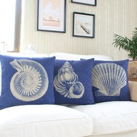 "MagicPieces Cotton and Flax Seashell Collection Decorative Pillow Case Cover C 18"" x 18"" Square Shape-18 inches-seashell-ocean-beach-shell-conch-scallop"