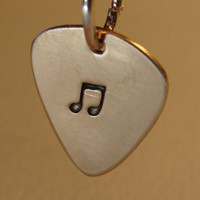 Bronze guitar pick charm handmade with music note | nicilaskin - Jewelry on ArtFire