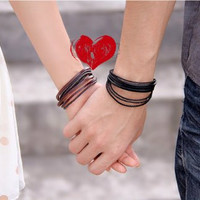 couple bracelet 2 color leather ropes bracelet women Leather Bracelet Men leather bracelet  T035