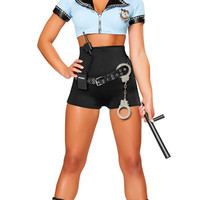 Sexy Police Woman Costume, Black and Blue Cop Costume, Sexy Police Officer Halloween Costume