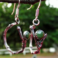 Twig Hoop Earrings Green Jade Sterling Silver Earrings