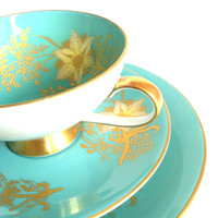 Antique Trio/PMR Bavaria Tea Cup, Saucer and Plate Trio/Made in Germany/Hollywood Regency Style